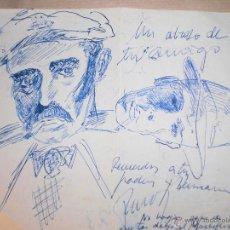 Varios objetos de Arte: ANTIGUOS DIBUJOS AVIION COCHE CARRERA CABALLERO CON SOMBRERO DEDICATORIA FIRMA APUNTES MANUSCRITOS. Lote 50598388