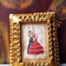 Varios objetos de Arte: CUADRO SEVILLANO ÓLEO PINTADO Y BORDADO, PRECIOSO, 10X9CM. Lote 116456739