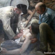 Varios objetos de Arte: OLEO SOBRE TAPIZ FIRMADO F.MUÑOZ GRAN REALISMO REPLICA CUADRO PINTOR SOROLLA. Lote 116768403