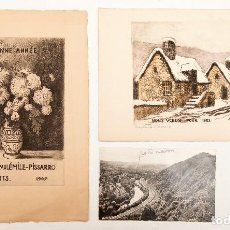 Varios objetos de Arte: PISSARRO, PAUL EMILE (HIJO DE CAMILE PISSARRO) - DOS AGUAFUERTES Y UNA POSTAL FIRMADA - 1947. Lote 117031339