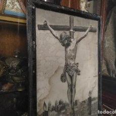 Varios objetos de Arte: ANTIGUA GRAN FOTOGRAFIA 75X49 CRISTO DEL SILENCIO DE LA BUENA MUERTE SEMANA SANTA CADIZ A RESTAURAR . Lote 118048563