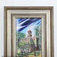 Varios objetos de Arte: PINTURA SOBRE COBRE ESMALTADO AL FUEGO - EDIFICIO MODERNISTA, FIRMADO M. MUSTÉ - MARCO PLATEADO. Lote 118459191