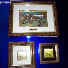 Varios objetos de Arte: LOTE 3 CUADROS-SOBRE LÁMINA DE ORO DE 24 KTS-VER FOTOS. Lote 118956787