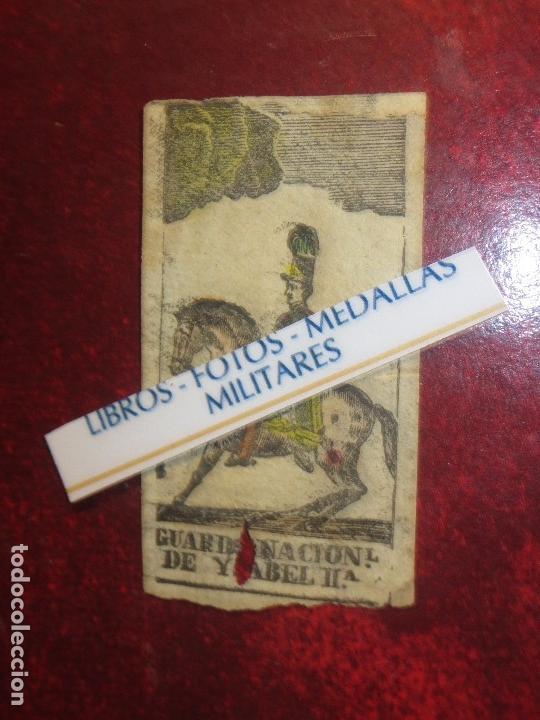 Varios objetos de Arte: GRABADO MILITAR GUARDIA NACIONAL A CABALLO DE ISABEL II CIRCA MEDIADOS SIGLO XIX - Foto 4 - 116180975