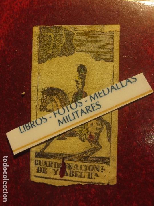 GRABADO MILITAR GUARDIA NACIONAL A CABALLO DE ISABEL II CIRCA MEDIADOS SIGLO XIX (Arte - Varios Objetos de Arte)