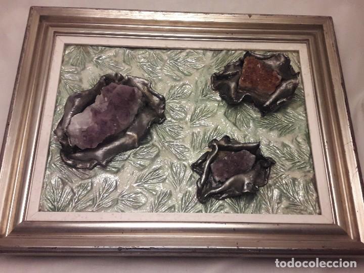 Varios objetos de Arte: Antiguo cuadro pieza única con maclas de amatistas y citrino minerales naturales autora Merce - Foto 12 - 118993563