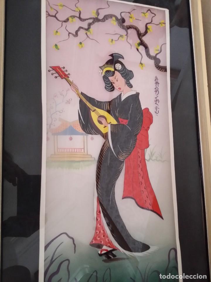 Varios objetos de Arte: CUADROS ORIENTALES PINTADOS GEISHAS - Foto 5 - 119143927