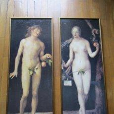 Varios objetos de Arte: LOTE DE DOS CUADROS DE ADÁN Y EVA. AÑO APROXIMADO 1975.. Lote 120494315