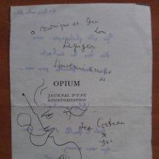 Varios objetos de Arte: DEDICATORIA DE AUTOR DESCONOCIDO AL DORSO DE FOTOCOPIA DE DIBUJO DE COCTEAU. Lote 122004227