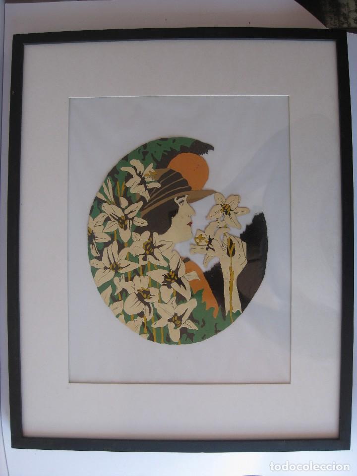 Varios objetos de Arte: Pintura en esmalte, cara de mujer rodeada de narcisos, estilo años 20 siglo XX de la Belle Époque - Foto 2 - 123380843