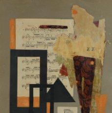 Varios objetos de Arte: COLLAGE SOBRE PAPEL TITULADO UN ACORDE-DOS SILENCIOS FIRMADO M.CABEZA TERCER TERCIO SIGLO XX. Lote 124193891