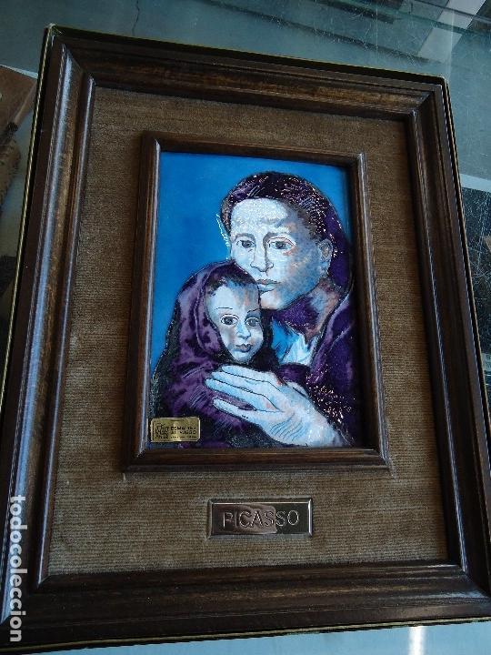 Varios objetos de Arte: Esmalte religioso al fuego pablo picasso - maternidad - - Foto 2 - 126294851