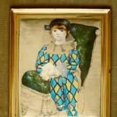 Varios objetos de Arte: PICASSO (ARLEQUIN) ANTIGUO CUADRO ESMALTADO CON MARCO DE MADERA. Lote 64645211