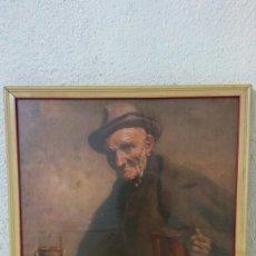 Varios objetos de Arte: CUADRO HOMBRE BEBIENDO VINO. Lote 126978952