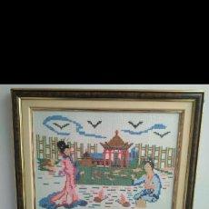 Varios objetos de Arte: ANTIGUO CUADRO TAPIZ EN LANA BORDADO A MANO. Lote 130829711