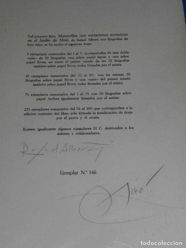 (M) FIRMA ORIGINAL DE JOAN MIRO Y RAFAEL ALBERTI ,ULTIMA PAGINA DEL LIBRO MARAVILLAS CON VARIACIONES (Arte - Varios Objetos de Arte)