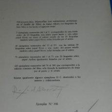 Varios objetos de Arte: (M) FIRMA ORIGINAL DE JOAN MIRO Y RAFAEL ALBERTI ,ULTIMA PAGINA DEL LIBRO MARAVILLAS CON VARIACIONES. Lote 127846539