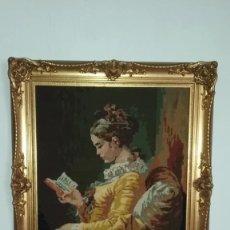 Varios objetos de Arte: CUADRO BORDADO A MANO CON MARCO DORADO . Lote 128242051