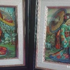 Varios objetos de Arte: PAREJA DE CUADROS ESMALTADOS TRIDIMENSIONALES CAPAS SOBREPUESTAS GEISHA. Lote 128825727