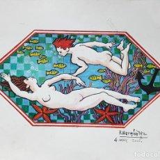 Varios objetos de Arte: FRANCISCO HERNANDEZ. PINTURA AL GOUACHE. AÑO 2000. 62X45 CMS.. Lote 129085895