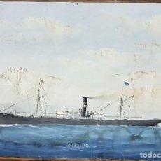 Varios objetos de Arte: PINTURA SOBRE PAPEL. 70X48. MARINA MERCANTE ESPAÑOLA. BUQUE OCOÑO. 1901. ALGO DE HUMEDAD.. Lote 129090439