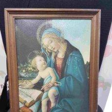 Varios objetos de Arte: CUADRO: LIENZO IMPRESO CON MARCO DE MADERA REPRESENTANDO LA VIRGEN MARIA Y AL NIÑO JESUS. Lote 128152054