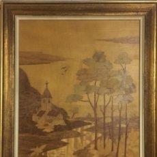 Varios objetos de Arte: CUADRO PAISAJE REALIZADO CON MARQUETERIA. Lote 129649103