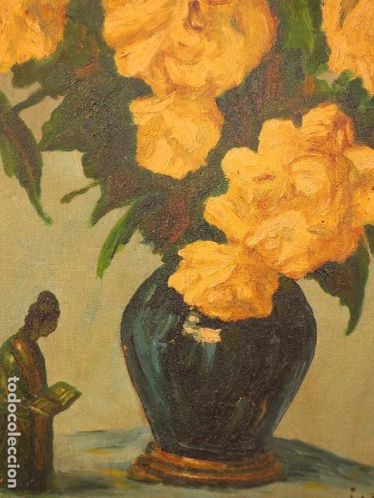 Varios objetos de Arte: INTERESANTE Y ANTIGUA PINTURA OLEO FIRMADA J.A . BOLUDA 70 X 60 CMS FLORES - Foto 5 - 130026687