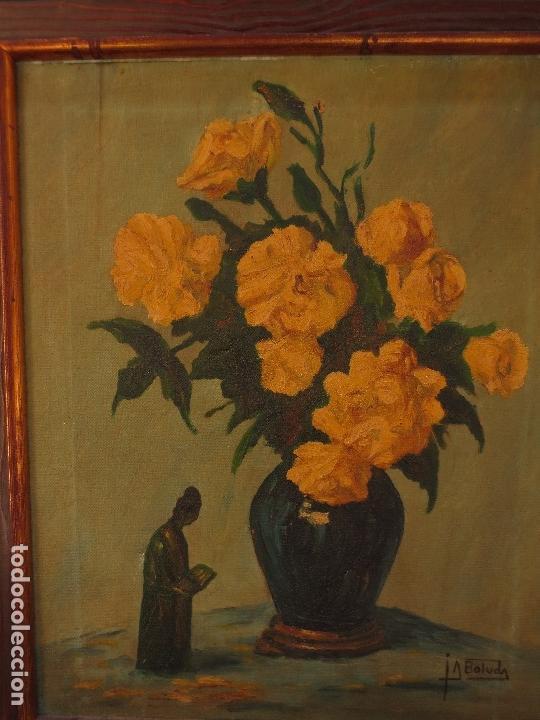 Varios objetos de Arte: INTERESANTE Y ANTIGUA PINTURA OLEO FIRMADA J.A . BOLUDA 70 X 60 CMS FLORES - Foto 6 - 130026687