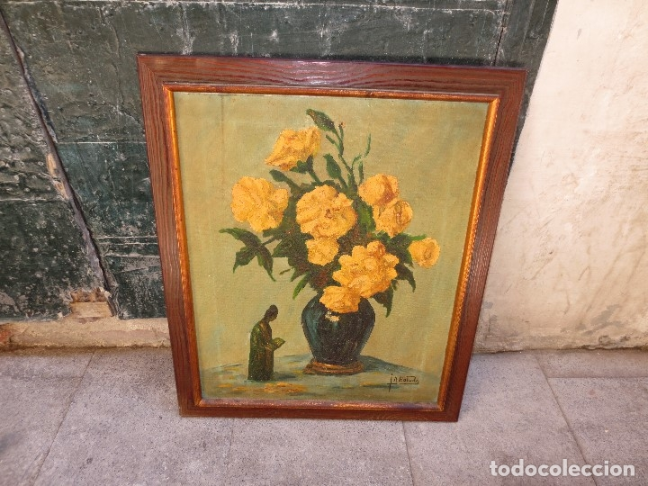 INTERESANTE Y ANTIGUA PINTURA OLEO FIRMADA J.A . BOLUDA 70 X 60 CMS FLORES (Arte - Varios Objetos de Arte)