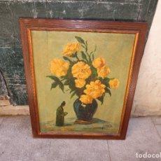 Varios objetos de Arte: INTERESANTE Y ANTIGUA PINTURA OLEO FIRMADA J.A . BOLUDA 70 X 60 CMS FLORES. Lote 130026687