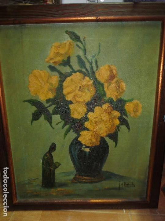 Varios objetos de Arte: INTERESANTE Y ANTIGUA PINTURA OLEO FIRMADA J.A . BOLUDA 70 X 60 CMS FLORES - Foto 3 - 130026687