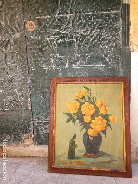 Varios objetos de Arte: INTERESANTE Y ANTIGUA PINTURA OLEO FIRMADA J.A . BOLUDA 70 X 60 CMS FLORES - Foto 2 - 130026687