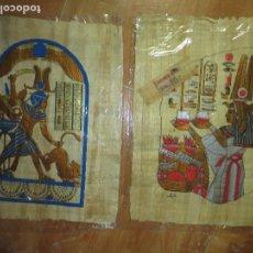Varios objetos de Arte: EXCELENTES PINTURAS EGIPCIAS FIRMADAS EN PAPEL DE MADERA FINA PAN DE ORO Y PINTURA. Lote 130095635