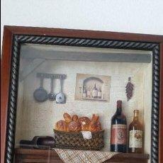 Varios objetos de Arte: MAGNIFICO Y ANTIGUIO CUADRO DECORACION DE COZINA HECHO A MANO MAD FRANCE . Lote 130380790