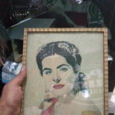 Varios objetos de Arte: CUADRO RETRATO DOLORES ABRIL 1952 POR PINTOR VIGUÉS CARLOS FERNÁNDEZ (INACABADO ). Lote 130489498