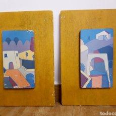 Varios objetos de Arte: PAREJA DE CUADROS VINTAGE, TABLAS DE MADERA, J&P . JR 29X40CM. Lote 130917472