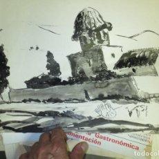 Varios objetos de Arte: AGUADA ACUARELA GRANDE ESCENA CAMPESTRE CON CARRO Y LABRIEGO PROCEDE DE ALICANTE. Lote 130945040