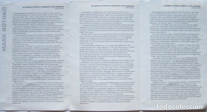 Varios objetos de Arte: Mark Rothko. Programa mano expo Barcelona 2001 - Foto 2 - 131898610