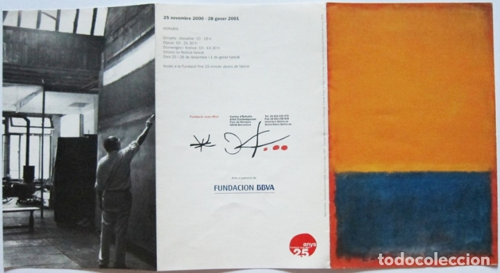 Varios objetos de Arte: Mark Rothko. Programa mano expo Barcelona 2001 - Foto 3 - 131898610