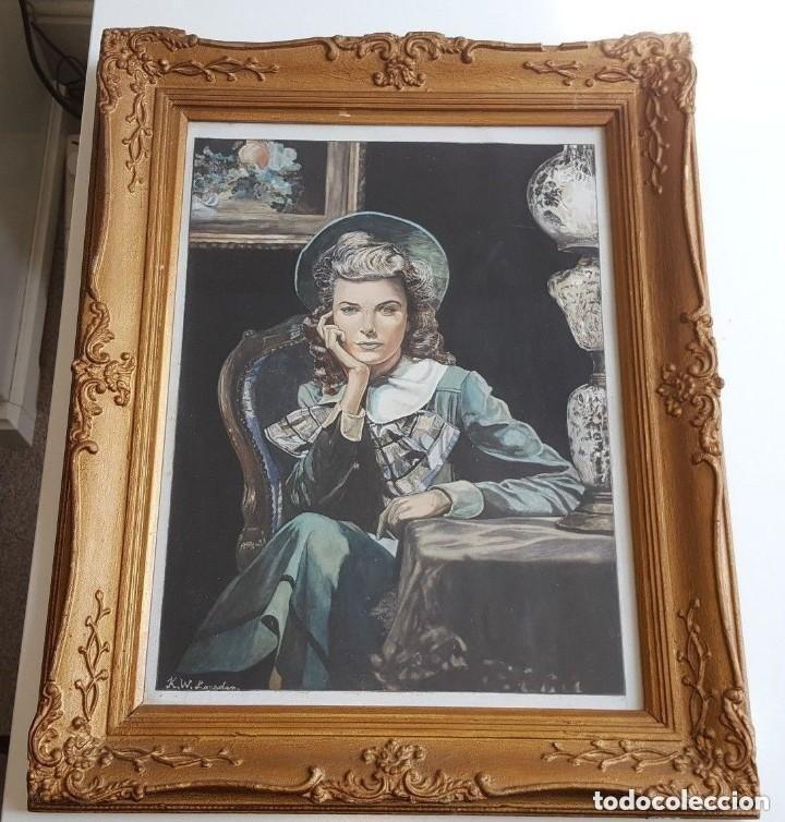 RETRATO DE MUJER JOVEN ORIGINAL VINTAGE ENMARCADO Y FIRMADO PINTURA DE ACRÍLICO (Arte - Varios Objetos de Arte)