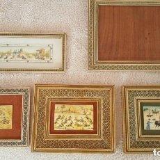 Varios objetos de Arte: 5 X MARCOS PÉRSICOS KHATAM KARI VINTAGE CON PINTURA FINA SOBRE HUESO DE CAMELLO. Lote 132896582
