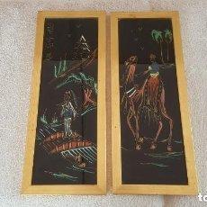Varios objetos de Arte: 2 CUADROS EGIPTO AÑO 1930S PINTADO A MANO SOBRE CRISTAL. Lote 132897206
