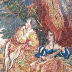 Varios objetos de Arte: ESPECTACULAR TAPIZ SOBRE LIENZO REALIZADO CON TÉCNICA MIXTA, S.XIX-ESTILO FRANCÉS ROMÁNTICO.78X62CM.. Lote 132978502