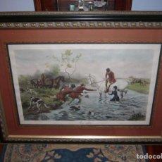 Varios objetos de Arte: CUADRO GRANDE-1 METRO--ENMARCADO-MUY BONITO-CABALLOS-CACERÍA.. Lote 133015182