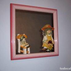 Varios objetos de Arte: CUADRO INFANTIL-ESPEJO CON FIGURAS CON VOLUMEN --ENMARCADO-MUY BONITO-NIÑA-. Lote 133015542
