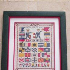 Varios objetos de Arte: CUADRO DE PUNTO DE CRUZ - ENMARCADO - BANDERAS DE SEÑALES MARITIMAS - 40X35. Lote 133446998