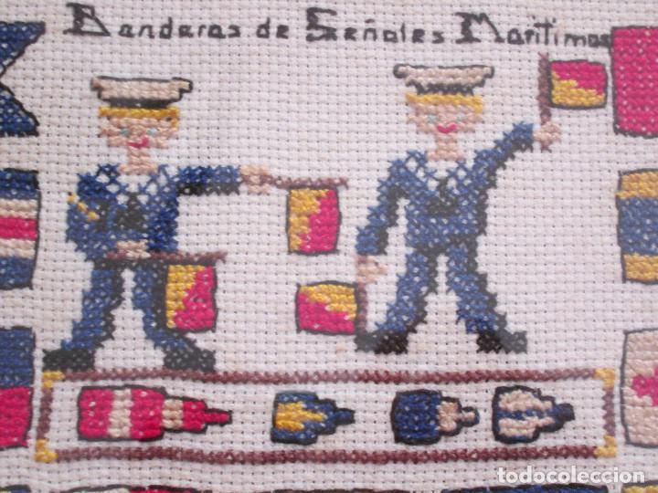 Varios objetos de Arte: CUADRO DE PUNTO DE CRUZ - ENMARCADO - BANDERAS DE SEÑALES MARITIMAS - 40X35 - Foto 3 - 133446998