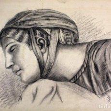 Varios objetos de Arte: D-4. DIBUJO AL CARBONCILLO. IMAGEN CLÁSICA. J. SEBASTIÁ. AÑO 1903. PRUEBA DE DIBUJO. Lote 133594490