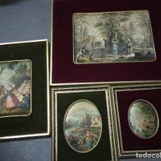 Varios objetos de Arte: LOTE DE CUADROS ANTIGUOS CON MOTIVOS CAMPESTRES . Lote 133866054